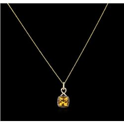 3.80 ctw Citrine and Diamond Pendant With Chain - 14KT Yellow Gold