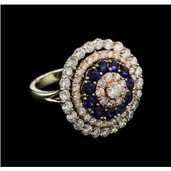 1.35 ctw Sapphire and Diamond Ring - 14KT Two-Tone Gold