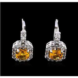1.50 ctw Yellowish Orange Sapphire and Diamond Earrings - 14KT White Gold