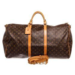 Louis Vuitton Monogram Canvas Leather Keepall 60 cm Bandouliere Duffle Bag Lugag
