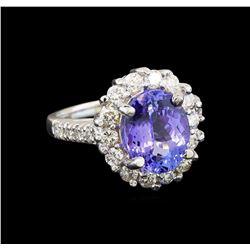14KT White Gold 3.82 ctw Tanzanite and Diamond Ring