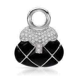 14k White Gold 0.43CTW Onyx and Diamond Pendant, (I1-I2/Black/H-I)
