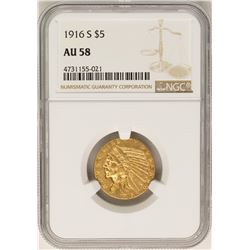 1916-S $5 Indian Head Half Eagle Gold Coin NGC AU58
