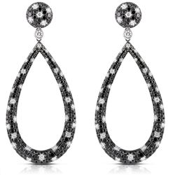18k White Gold 7.21CTW Black Diamonds and Diamond Earrings, (VS2-SI1)