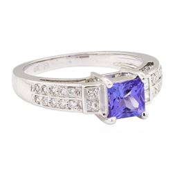 1.45 ctw Tanzanite And Diamond Ring - 18KT White Gold