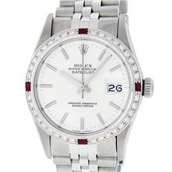 Rolex Mens Stainless Steel Silver Index Diamond & Ruby 36MM Datejust Wristwatch