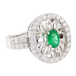 1.16 ctw Emerald And Diamond Ring - 14KT White Gold