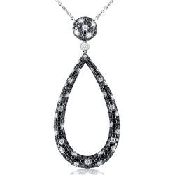 18k White Gold 3.55CTW Black Diamonds and Diamond Pendant, (VS2-SI1)