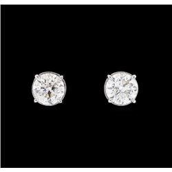 0.93 ctw Diamond Earrings - 14KT White Gold