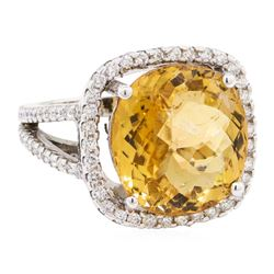 11.08 ctw Golden Tourmaline And Diamond Ring - 14KT White Gold