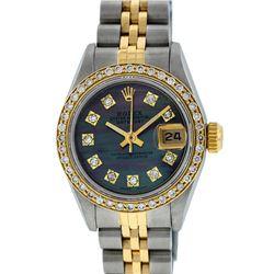 Rolex Ladies 2 Tone 14K Tahitian MOP Diamond Datejust Wristwatch