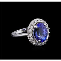 4.80 ctw Tanzanite and Diamond Ring - 14KT White Gold