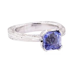 2.25 ctw Blue Sapphire And Diamond Ring - 18KT White Gold