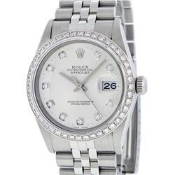 Rolex Mens Stainless Steel Silver Diamond 36MM Datejust Wristwatch