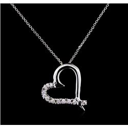 0.45 ctw Diamond Pendant With Chain - 14KT White Gold