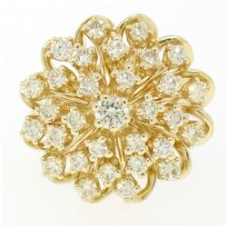 14K Solid Yellow Gold 1.01 ctw 31 Round VS1 Diamond Flower CLUSTER Cocktail Ring