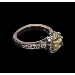 2.07 ctw Light Yellow Diamond Ring - 14KT White Gold