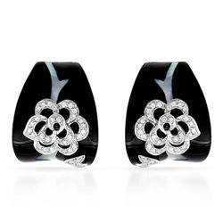 18k White Gold 0.37CTW Diamond and Onyx and Mother Of Pearl Earrings, (SI1-SI2/I
