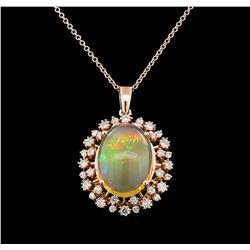 6.53 ctw Opal and Diamond Pendant With Chain - 14KT Rose Gold