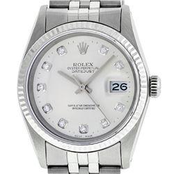Rolex Mens Stainless Silver Diamond 36MM Datejust Wristwatch