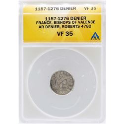 1157-1276 France Denier Bishops of Valence Coin ANACS VF35