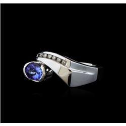 0.86 ctw Tanzanite and Diamond Ring - 14KT White Gold