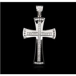 14KT White Gold 0.98 ctw Diamond Cross Pendant