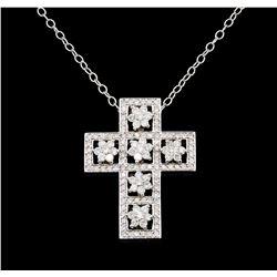 1.83 ctw Diamond Cross Pendant With Chain - 14KT White Gold
