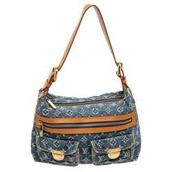 Louis Vuitton Monogram Blue Denim Leather Baggy PM Shoulder Bag