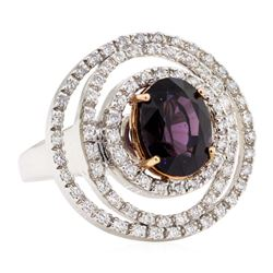 4.92 ctw Lavender Spinel And Diamond Ring - 18KT White And Rose Gold