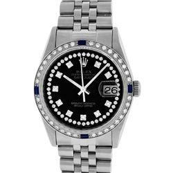 Rolex Mens Stainless Steel Black String Diamond & Sapphire Datejust Wristwatch