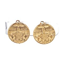 Chanel Gold Textured Medallion Clip On Disc Earrings