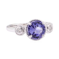 2.08 ctw Blue Sapphire and Diamond Ring - 14KT White Gold