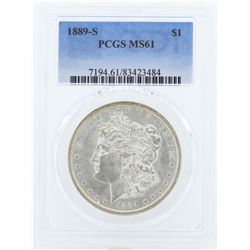 1889-S $1 Morgan Silver Dollar Coin PCGS MS61