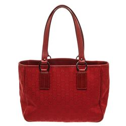 Gucci Red GG Canvas Leather Tote Bag