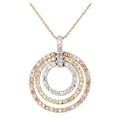1.70 ctw Diamond Pendant And Chain - 14KT Rose, White And Yellow Gold