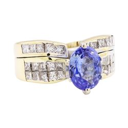 3.29 ctw Sapphire And Diamond Ring And Attached Band - 18KT Yellow Gold