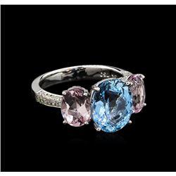 3.56 ctw Aquamarine, Morganite and Diamond Ring - 18KT White Gold
