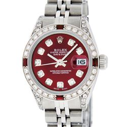 Rolex Ladies Stainless Steel Diamond Lugs & Ruby Datejust Wristwatch