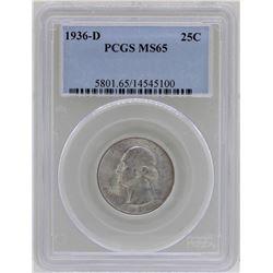 1936-D Washington Silver Quarter Coin PCGS MS65