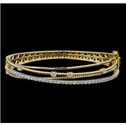 1.31 ctw Diamond Bangle Bracelet - 14KT Yellow and White Gold