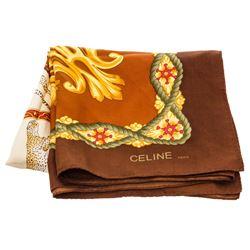 Celine Brown Gold Silk Scarf Cheetah