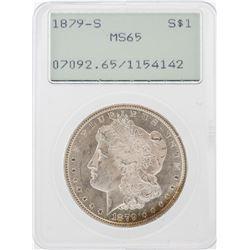 1879-S $1 Morgan Silver Dollar Coin PCGS MS65 Old Green Rattler