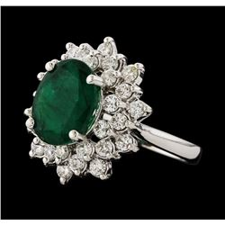 3.30 ctw Emerald and Diamond Ring - 14KT White Gold