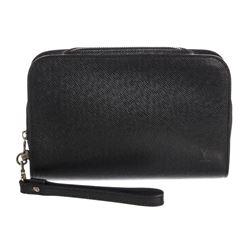Louis Vuitton Black Taiga Leather Baikal Wristlet Clutch Bag
