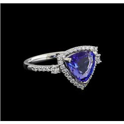 2.46 ctw Tanzanite and Diamond Ring - Platinum
