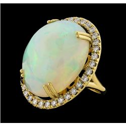 25.20 ctw Opal and Diamond Ring - 14KT Yellow Gold