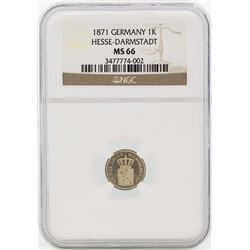 1871 Germany Kreuzer Coin NGC MS66