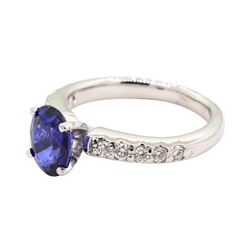 1.41 ctw Sapphire and Diamond Ring - 14KT White Gold