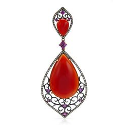 14k Rose Gold  26.19CTW Red Agate and Pink Sapphire and Brown Diamonds Pendant